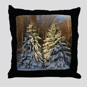 Snow Covered Pine Trees Throw Pillow