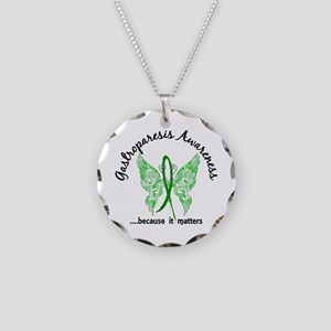 Gastroparesis Butterfly 6.1 Necklace Circle Charm