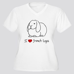 I Love French Lops Women's Plus Size V-Neck T-Shir