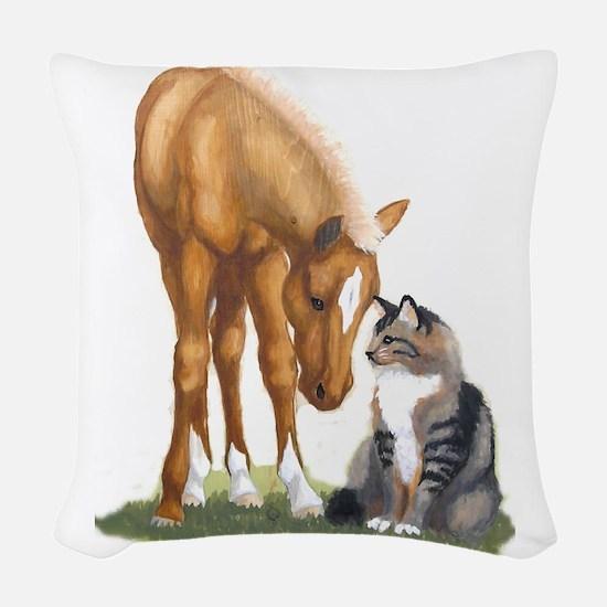 mini sorrel cat Woven Throw Pillow
