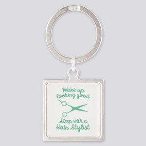 Wake Up Looking Good Square Keychain