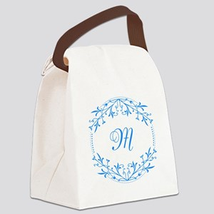 Blue and White Decorative Monogram Canvas Lunch Ba