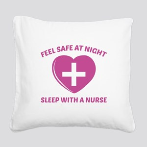 Feel Safe At Night Square Canvas Pillow