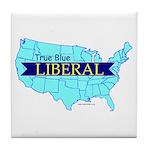 True Blue LIBERAL -USA map - Tile Coaster