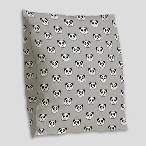 Panda Face Pattern Burlap Throw Pillow