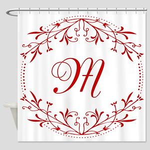 Elegant Red Monogram Shower Curtain