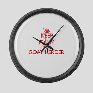 Keep calm I'm a Goat Herder Large Wall Clock