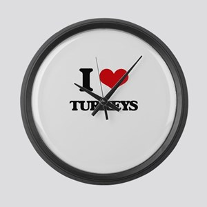 I love Turkeys Large Wall Clock