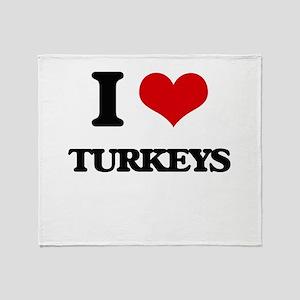 I love Turkeys Throw Blanket