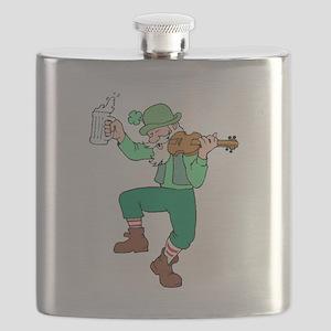 Irish Man Playing Fiddle Flask