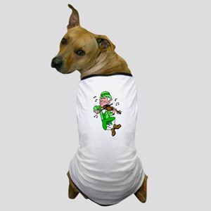 Leprechaun Playing Fiddle Dog T-Shirt