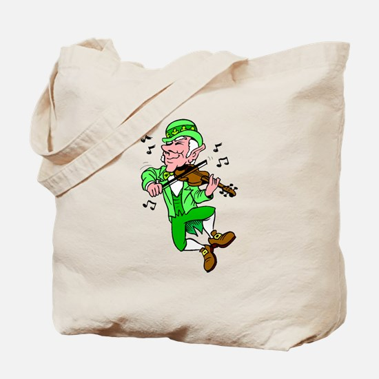 Leprechaun Playing Fiddle Tote Bag