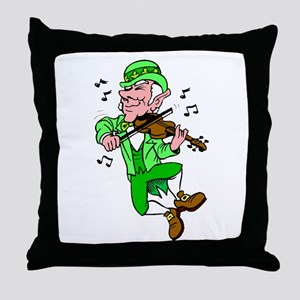 Leprechaun Playing Fiddle Throw Pillow