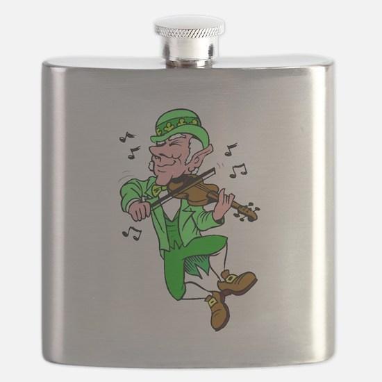 Leprechaun Playing Fiddle Flask