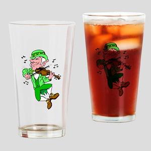 Leprechaun Playing Fiddle Drinking Glass