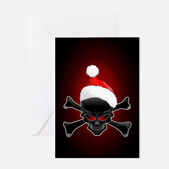 Christmas Santa Black Skull Greeting Cards