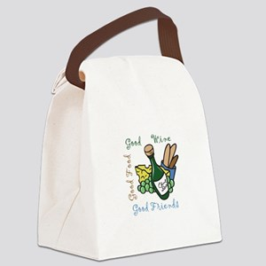 GOOD WINE FOOD FRIENDS Canvas Lunch Bag