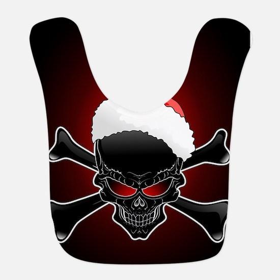 Christmas Santa Black Skull Bib