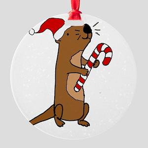 Funny Sea Otter Christmas Art Round Ornament