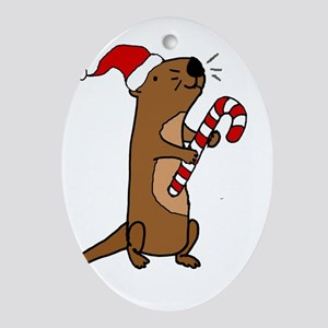 Funny Sea Otter Christmas Art Oval Ornament