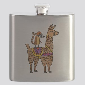Coati Mundi on Llama Cartoon Flask