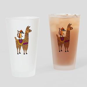 Coati Mundi on Llama Cartoon Drinking Glass