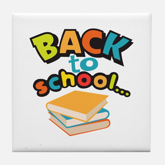 SCHOOL BOOKS Tile Coaster