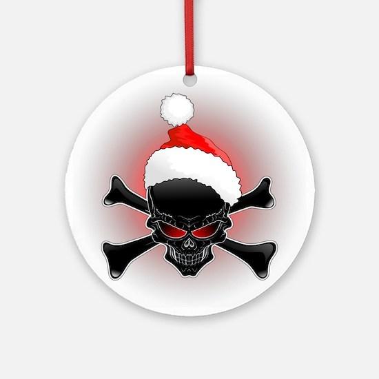 Christmas Santa Black Skull Ornament (Round)