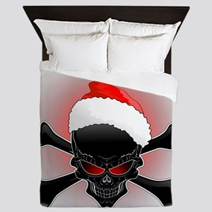 Christmas Santa Black Skull Queen Duvet