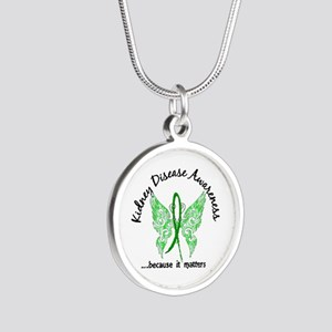 Kidney Disease Butterfly 6.1 Silver Round Necklace