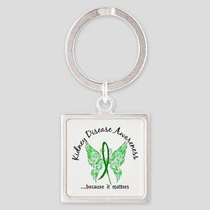 Kidney Disease Butterfly 6.1 Square Keychain