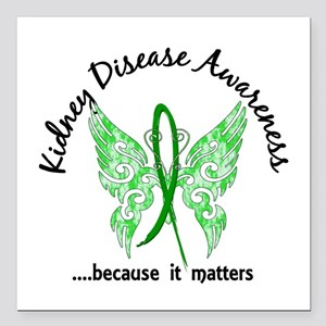 "Kidney Disease Butterfly Square Car Magnet 3"" x 3"""