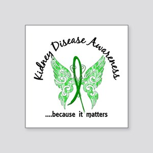 "Kidney Disease Butterfly 6. Square Sticker 3"" x 3"""