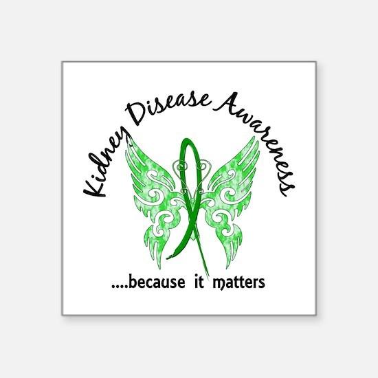 """Kidney Disease Butterfly 6. Square Sticker 3"""" x 3"""""""