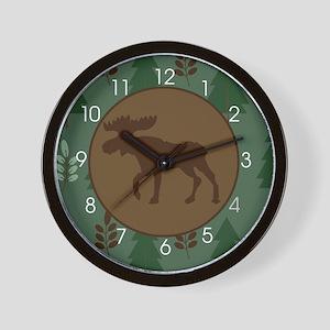 Rustic Moose Wall Clock Green/Brown Wall Clock