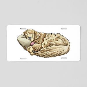 Sleeping Golden Retriever Aluminum License Plate
