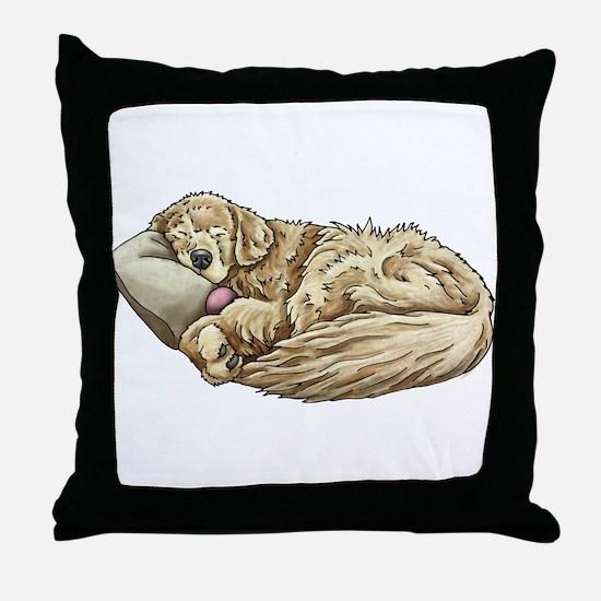Sleeping Golden Retriever Throw Pillow