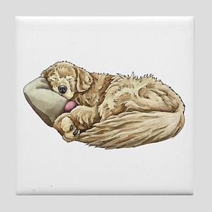 Sleeping Golden Retriever Tile Coaster