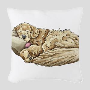 Sleeping Golden Retriever Woven Throw Pillow