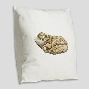 Sleeping Golden Retriever Burlap Throw Pillow