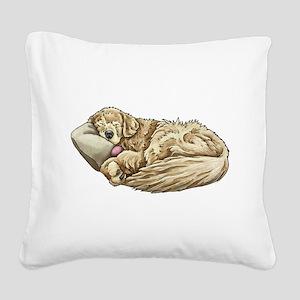 Sleeping Golden Retriever Square Canvas Pillow