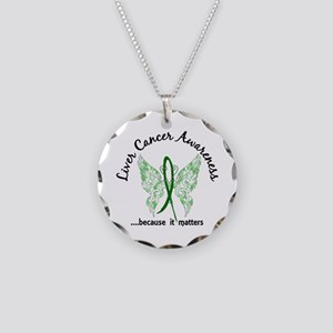 Liver Cancer Butterfly 6.1 Necklace Circle Charm