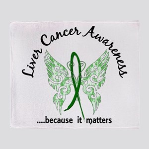 Liver Cancer Butterfly 6.1 Throw Blanket