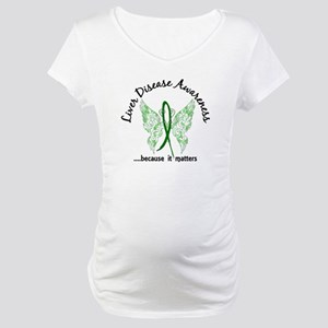 Liver Disease Butterfly 6.1 Maternity T-Shirt