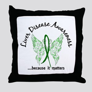 Liver Disease Butterfly 6.1 Throw Pillow