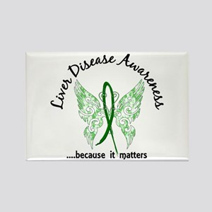 Liver Disease Butterfly 6.1 Rectangle Magnet
