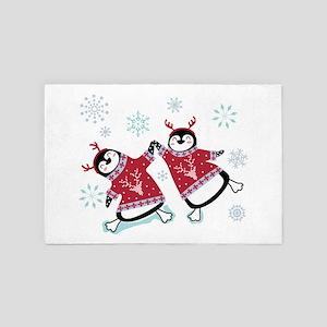 Penguins in winter sweater 4' x 6' Rug
