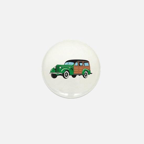 CLASSIC WOODY CAR Mini Button