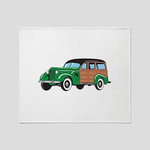 CLASSIC WOODY CAR Throw Blanket