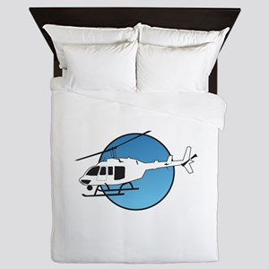 HELICOPTER AND SKY Queen Duvet